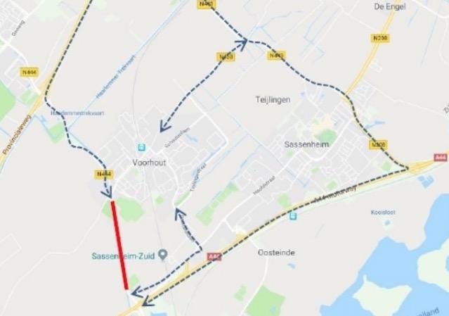 N444 dicht tussen Nagelbrug en A44