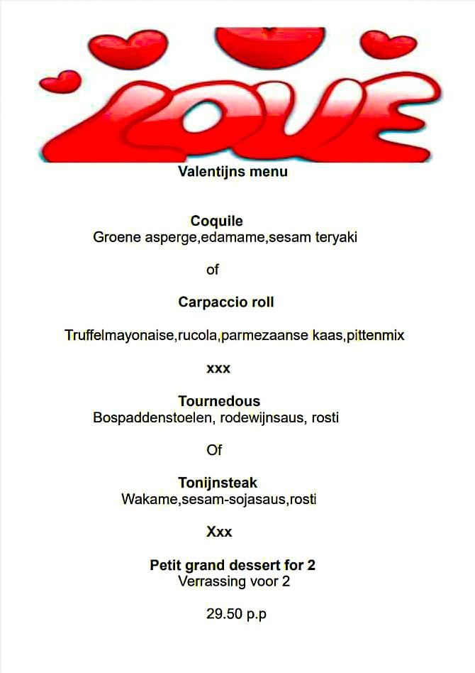 Valentijnsmenu in De Gouwe