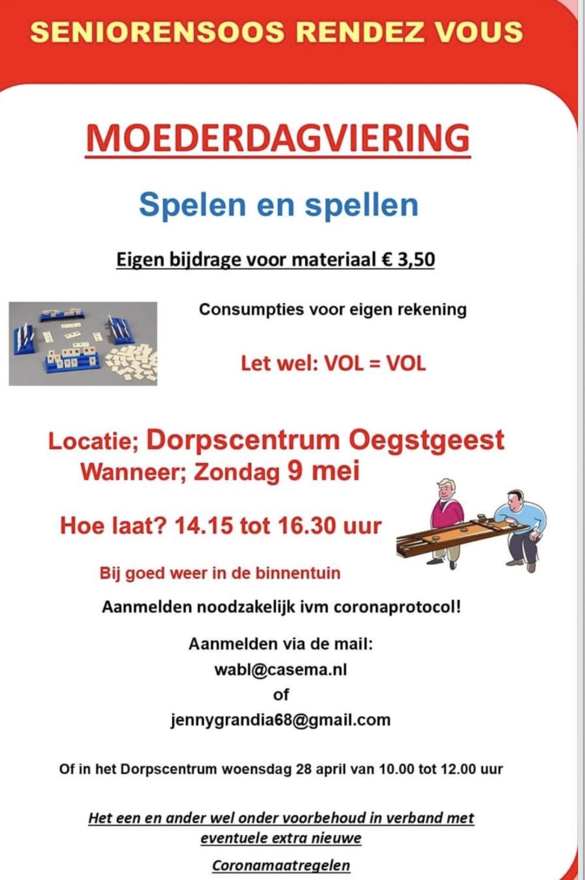 Moederdagviering bij Seniorensoos Rendez Vous; aanmelden wabl@casema.nl